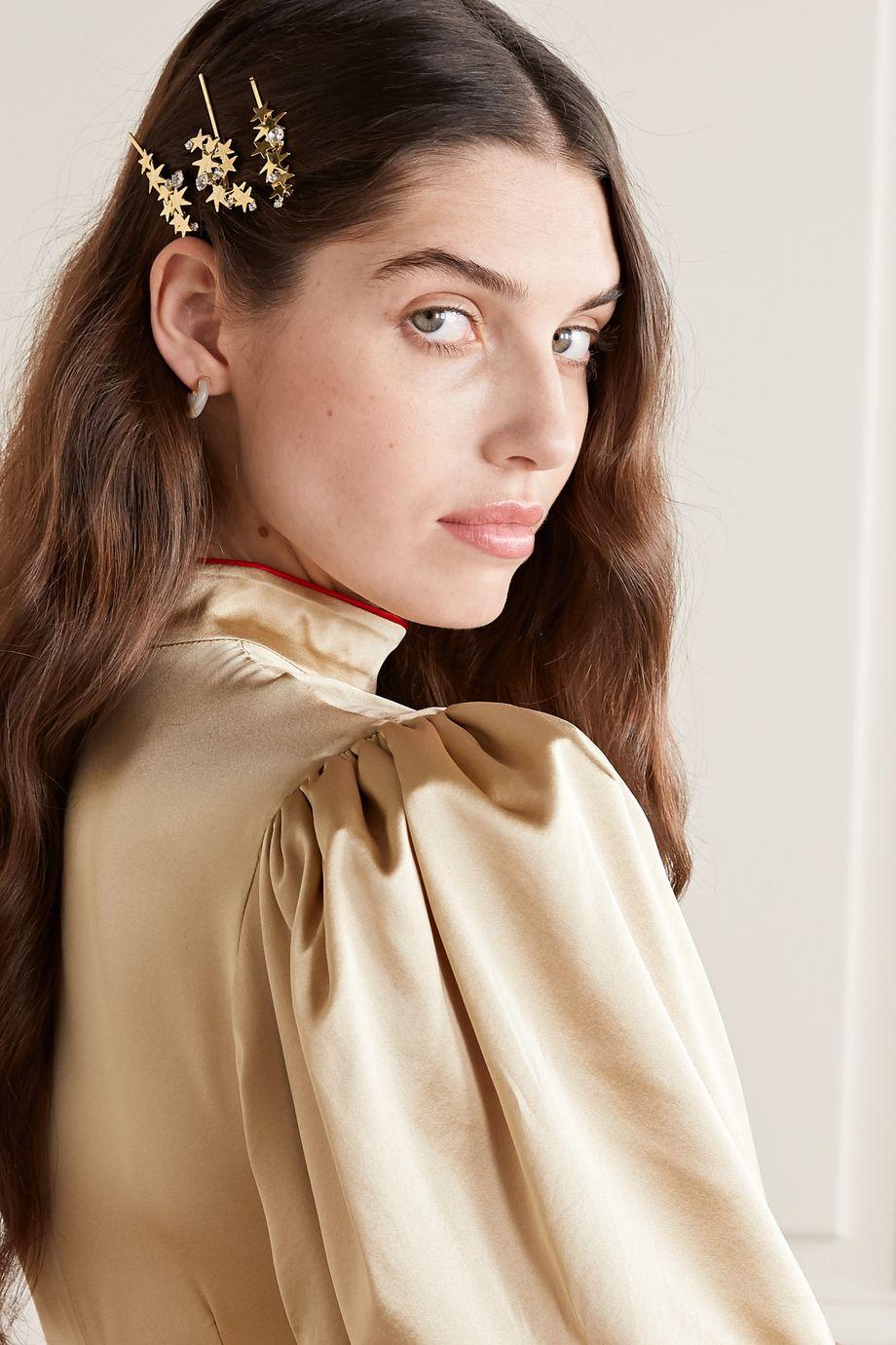 LELET NY Modern Stars Set aus drei goldfarbenen Haarspangen mit Kristallen