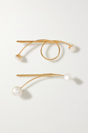 LELET NY Some Artist Guy set of two gold-plated pearl hair slides