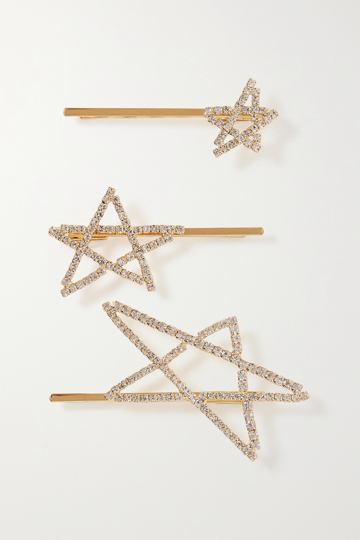 LELET NY Seeing Stars set of three gold-plated crystal hair slides