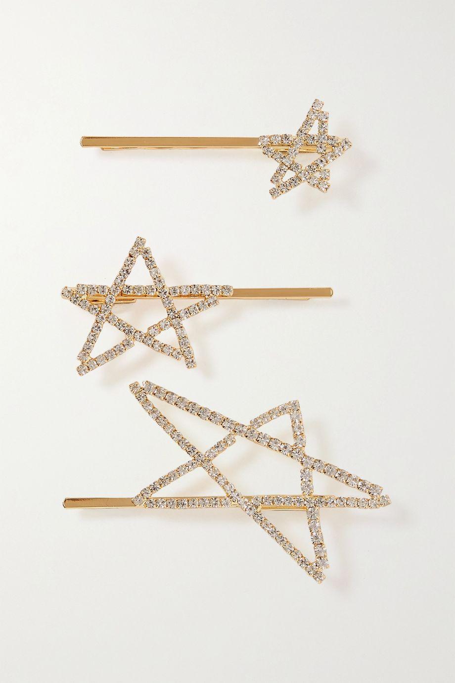LELET NY Seeing Stars Set aus drei vergoldeten Haarspangen mit Kristallen
