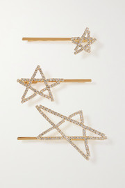 LELET NY Seeing Stars set of three gold-plated crystal hair slides