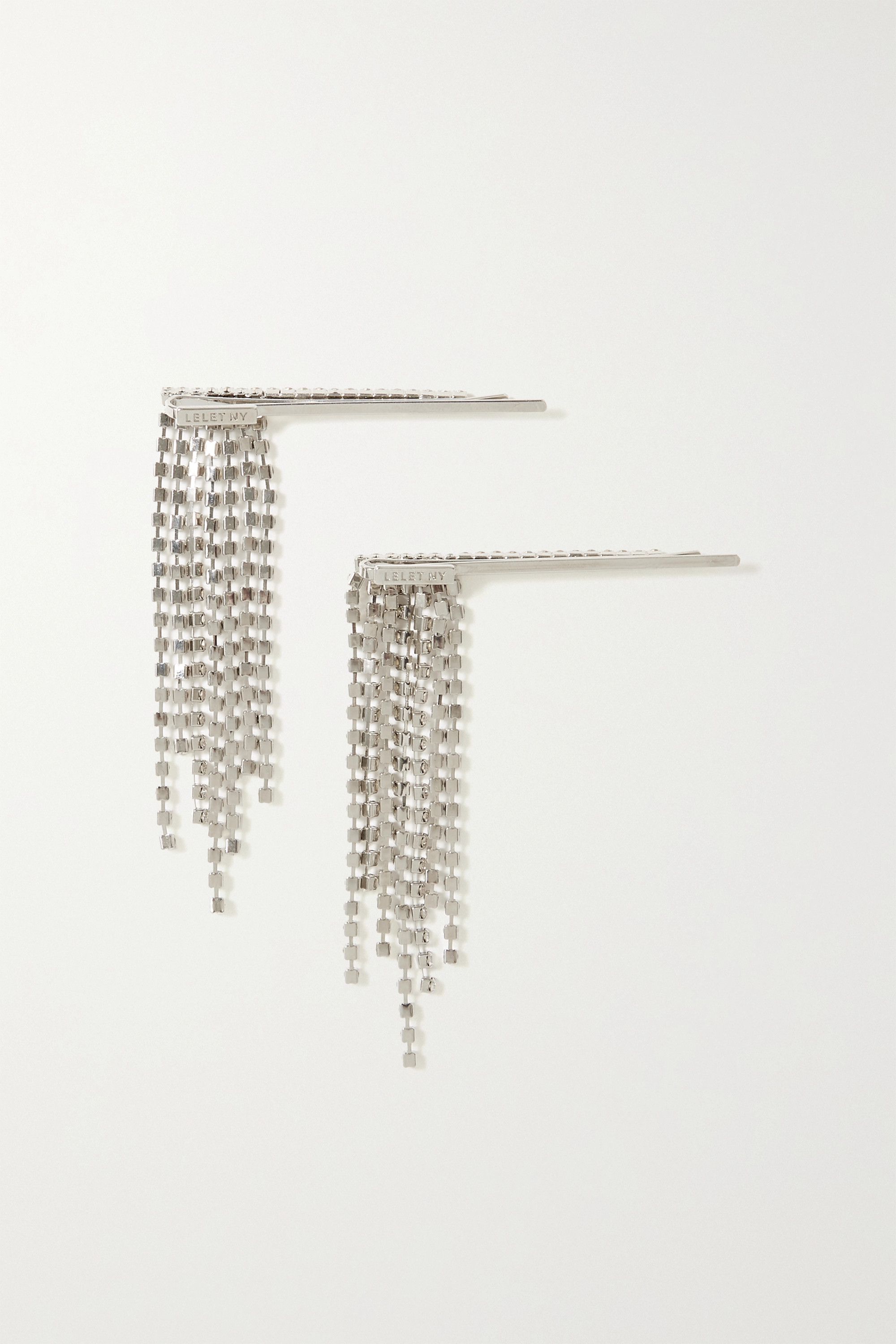 LELET NY Set of two rhodium-plated crystal hair slides