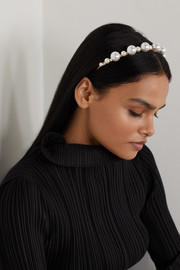 Gold-plated faux pearl headband