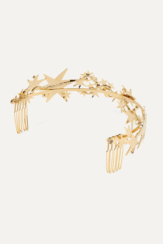 LELET NY Crystal-embellished gold-plated headband