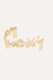 Crystal-embellished gold-plated headband