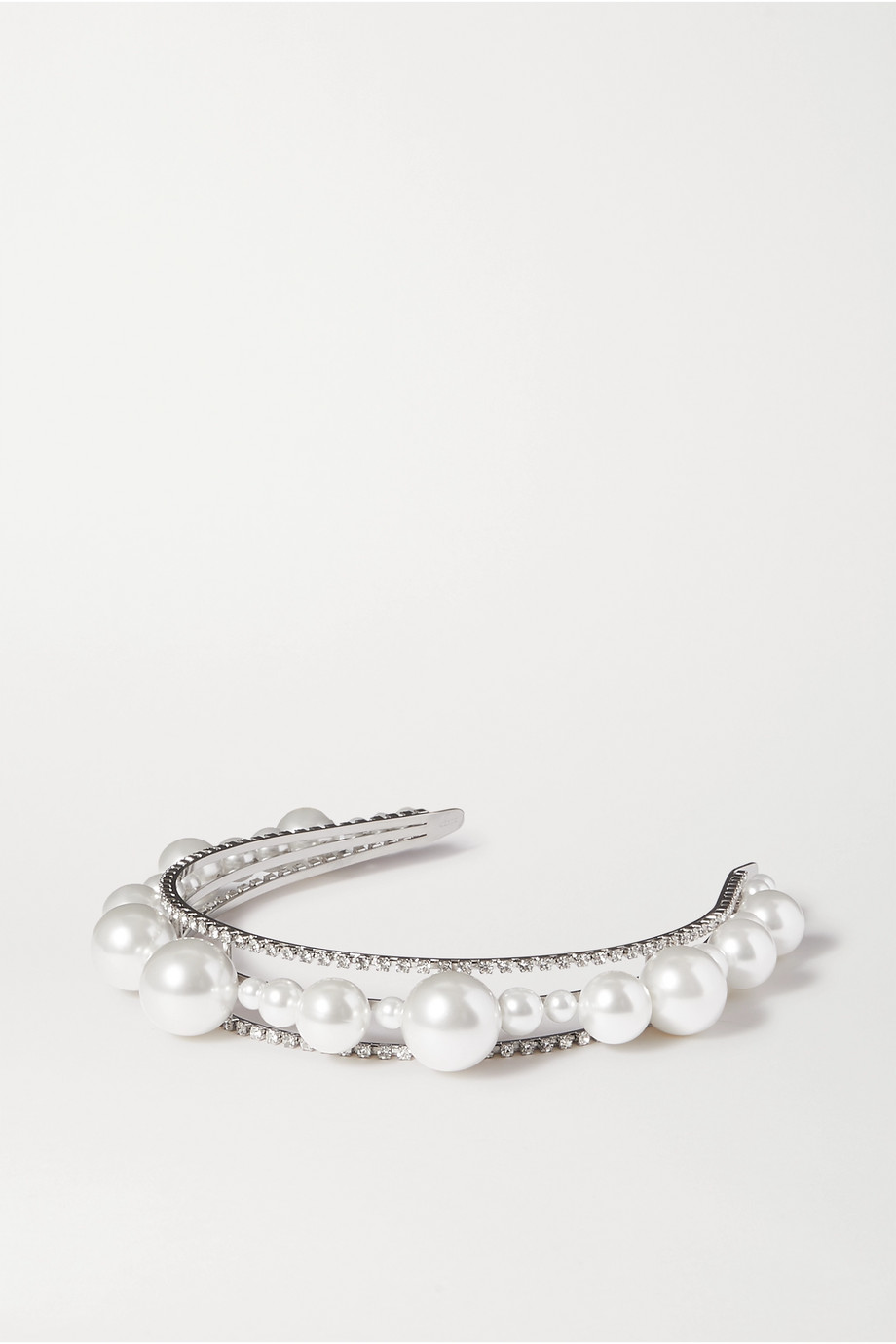 Givenchy Ariana faux pearl, Swarovski crystal and silver-tone headband