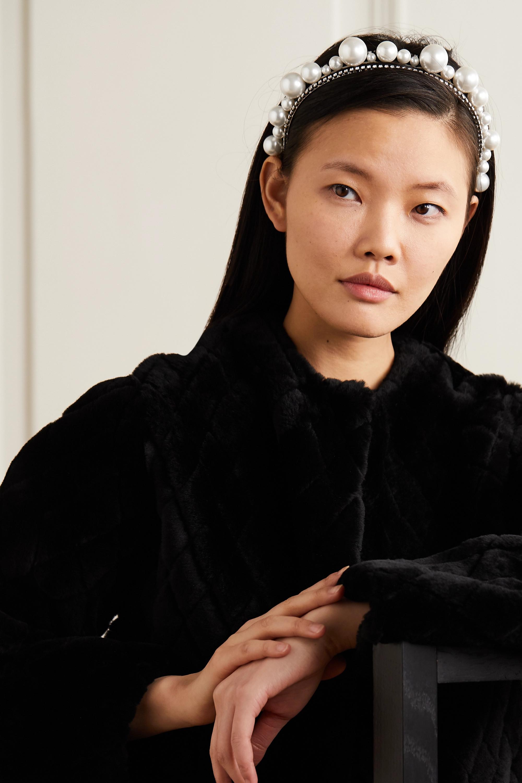 Givenchy Serre-tête en métal argenté, perles synthétiques et cristaux Swarovski Ariana