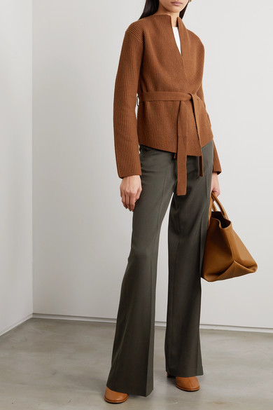 Belted Ribbed Wool And Cashmere Blend Cardigan by Theory