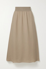 Stretch jersey-trimmed silk-crepe midi skirt