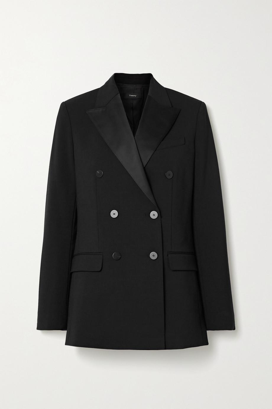 Theory Satin-trimmed cady blazer