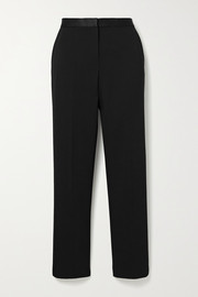 Theory Satin-trimmed cady slim-leg pants