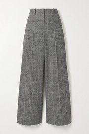 Theory Prince of Wales checked wool-blend wide-leg pants