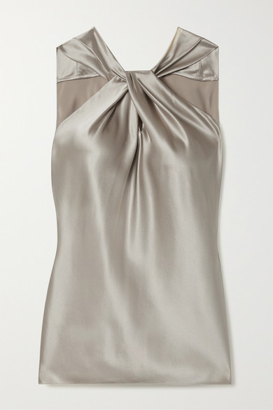 Twist Front Silk Blend Satin Top by Theory