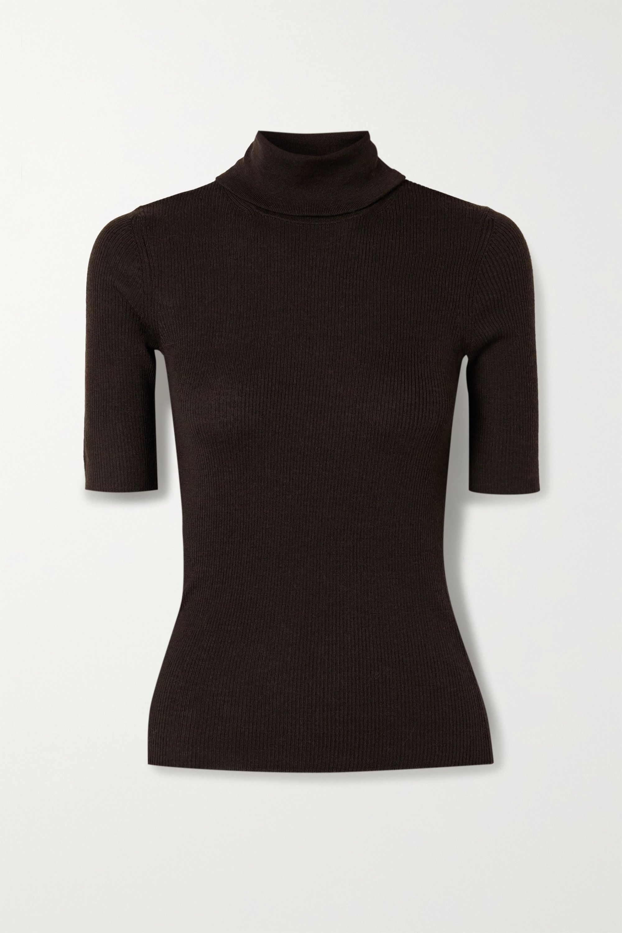 Theory Leenda R ribbed merino wool-blend turtleneck sweater