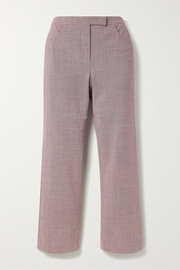 Cropped houndstooth woven flared pants