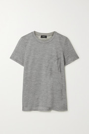 Theory Easy Pocket T-Shirt aus meliertem Woll-Jersey