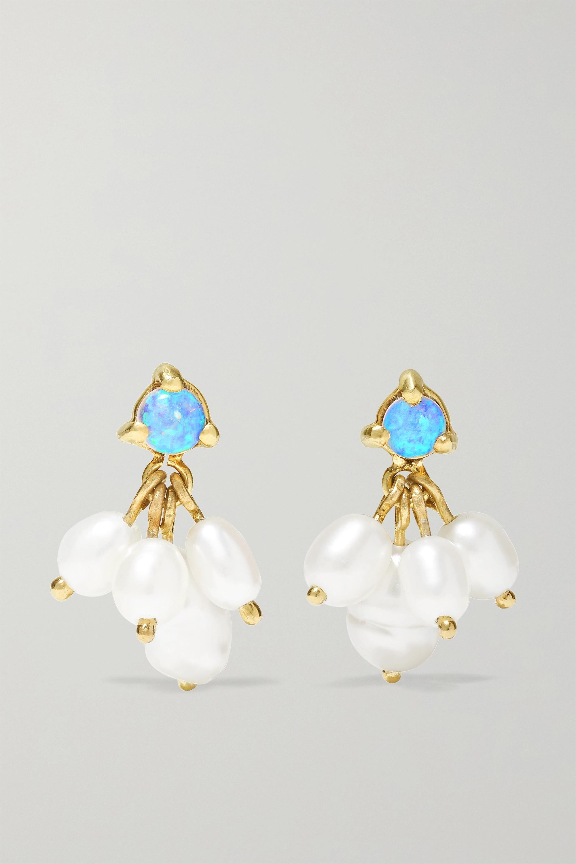 Wwake + NET SUSTAIN gold, pearl and opal earrings