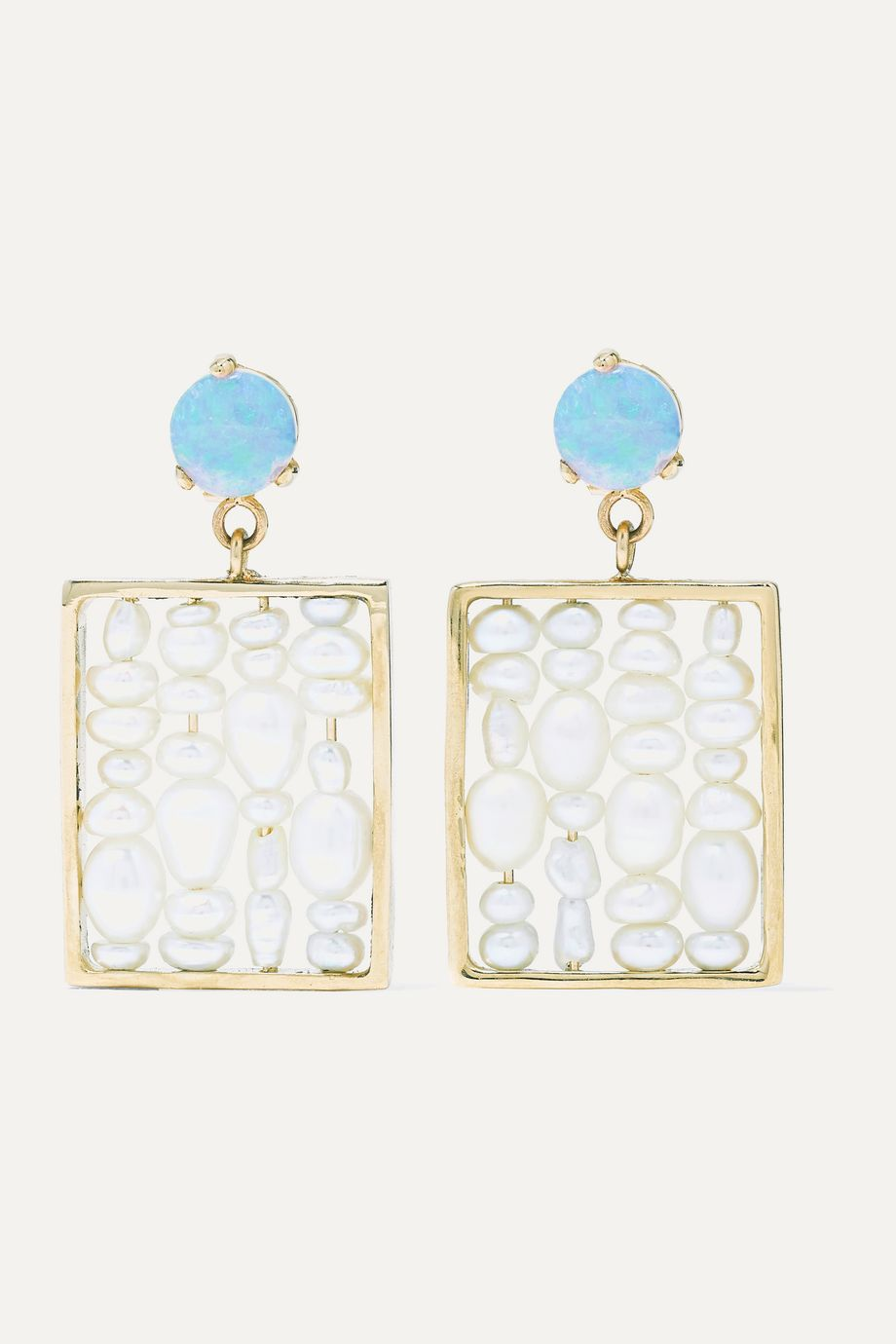 Wwake + NET SUSTAIN 14-karat gold, pearl and opal earrings