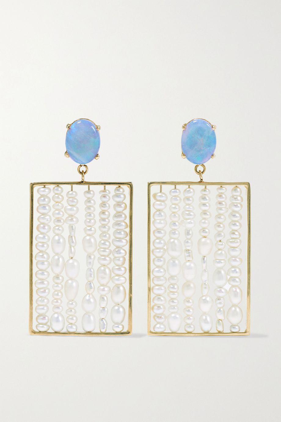 Wwake + NET SUSTAIN 14-karat gold, pearl and opal earrings
