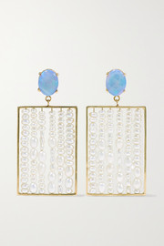+ NET SUSTAIN 14-karat gold, pearl and opal earrings