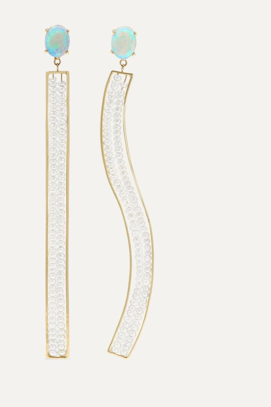 Wwake + NET SUSTAIN Dance Partner 14-karat gold, pearl and opal earrings