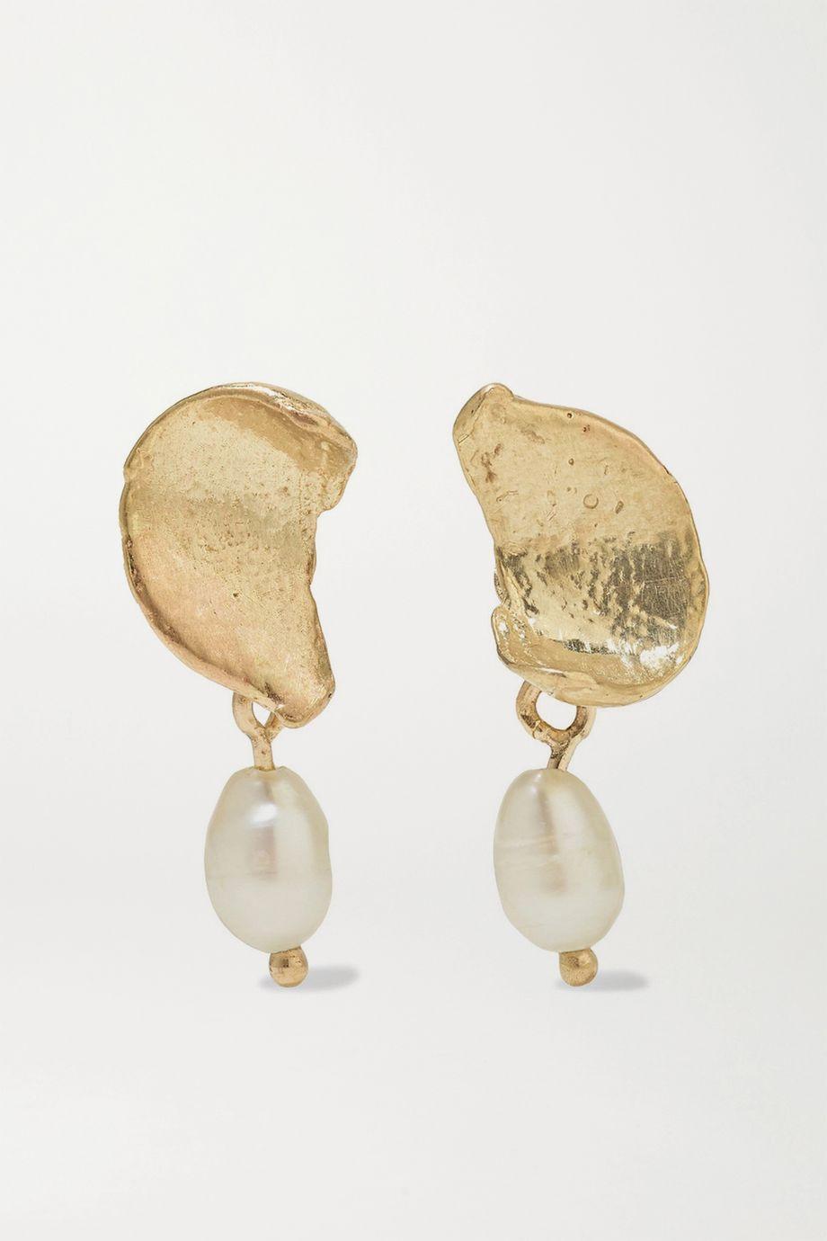 Wwake + NET SUSTAIN Dewdrop gold pearl earrings