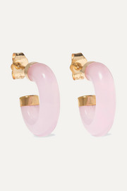Loren Stewart Gold rose quartz hoop earrings