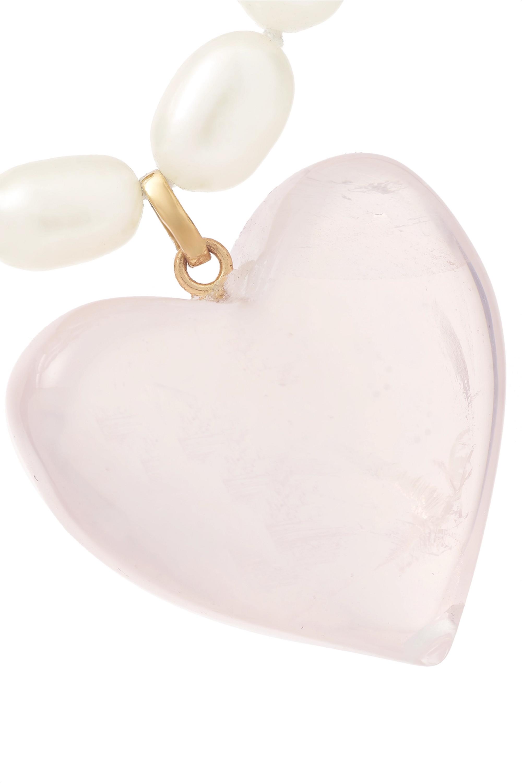 Loren Stewart 14-karat gold pearl and quartz necklace
