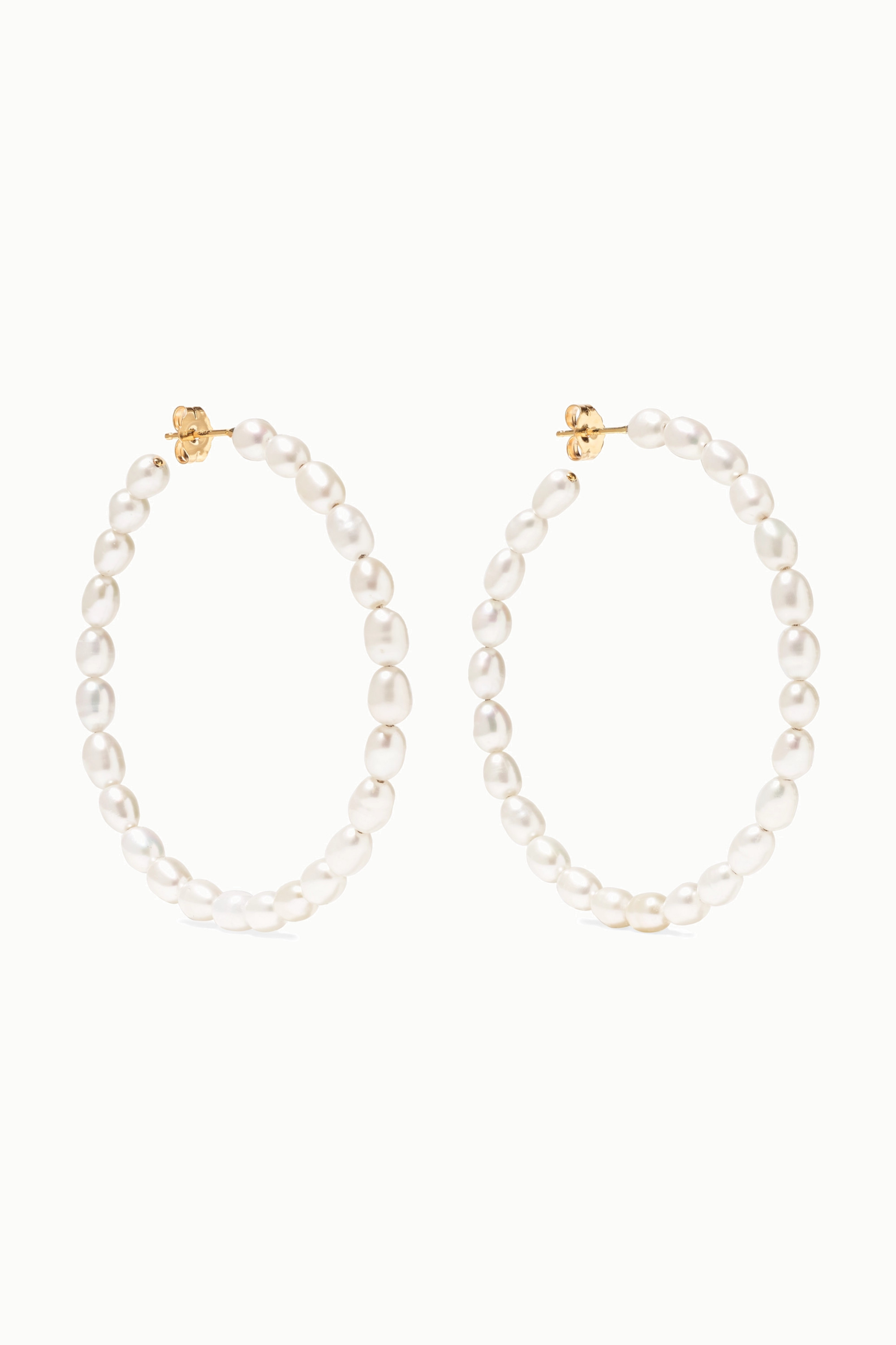 Loren Stewart Nina 14-karat gold pearl hoop earrings