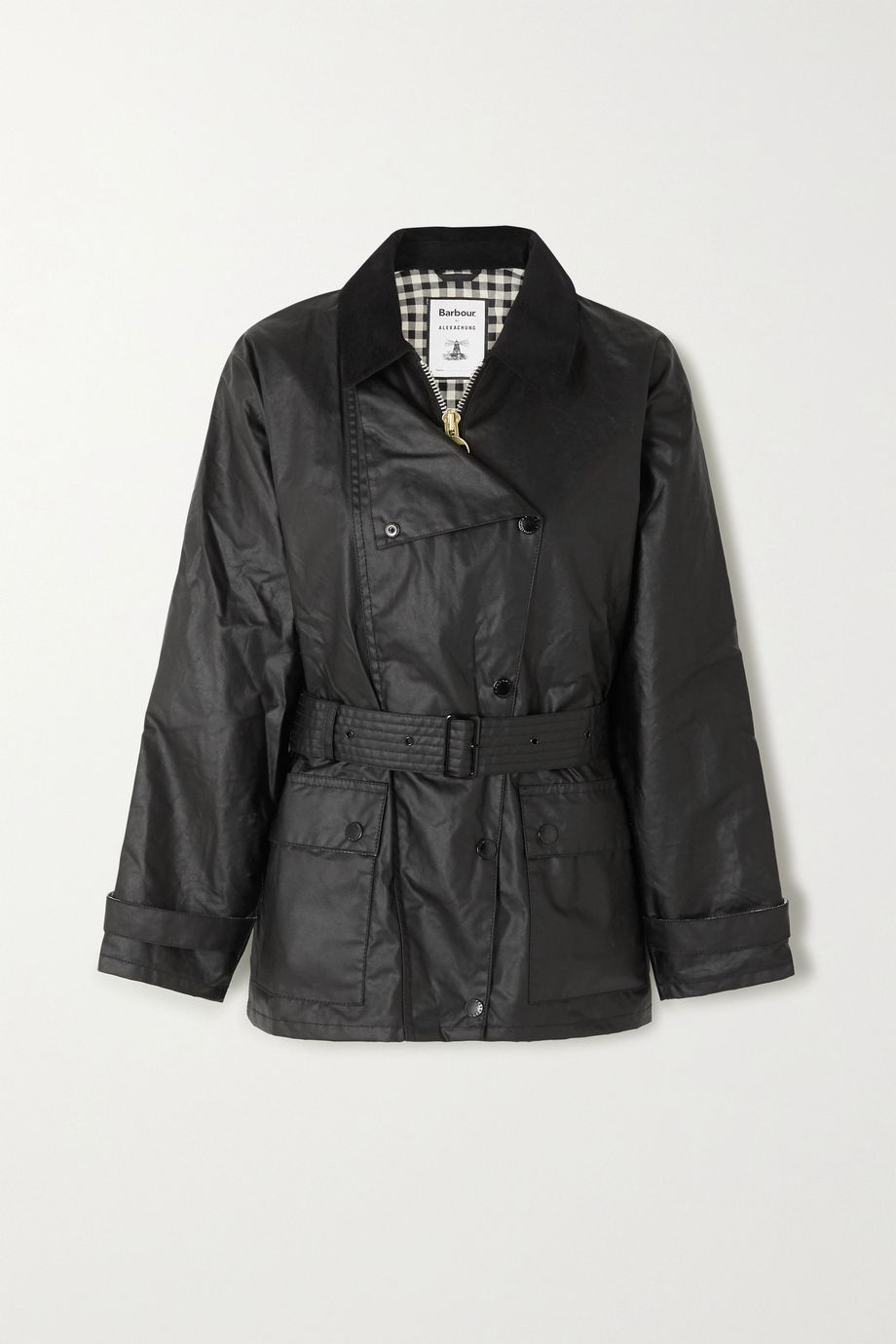 Barbour + ALEXACHUNG Agatha belted corduroy-trimmed waxed cotton jacket