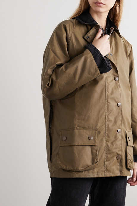 + ALEXACHUNG Edith corduroy-trimmed waxed-cotton jacket