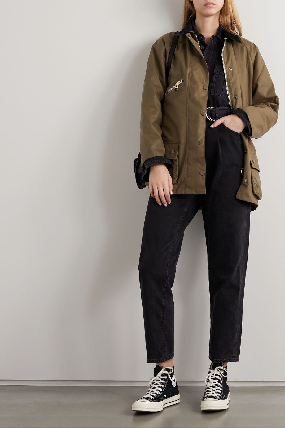 Barbour + ALEXACHUNG Edith corduroy-trimmed waxed-cotton jacket