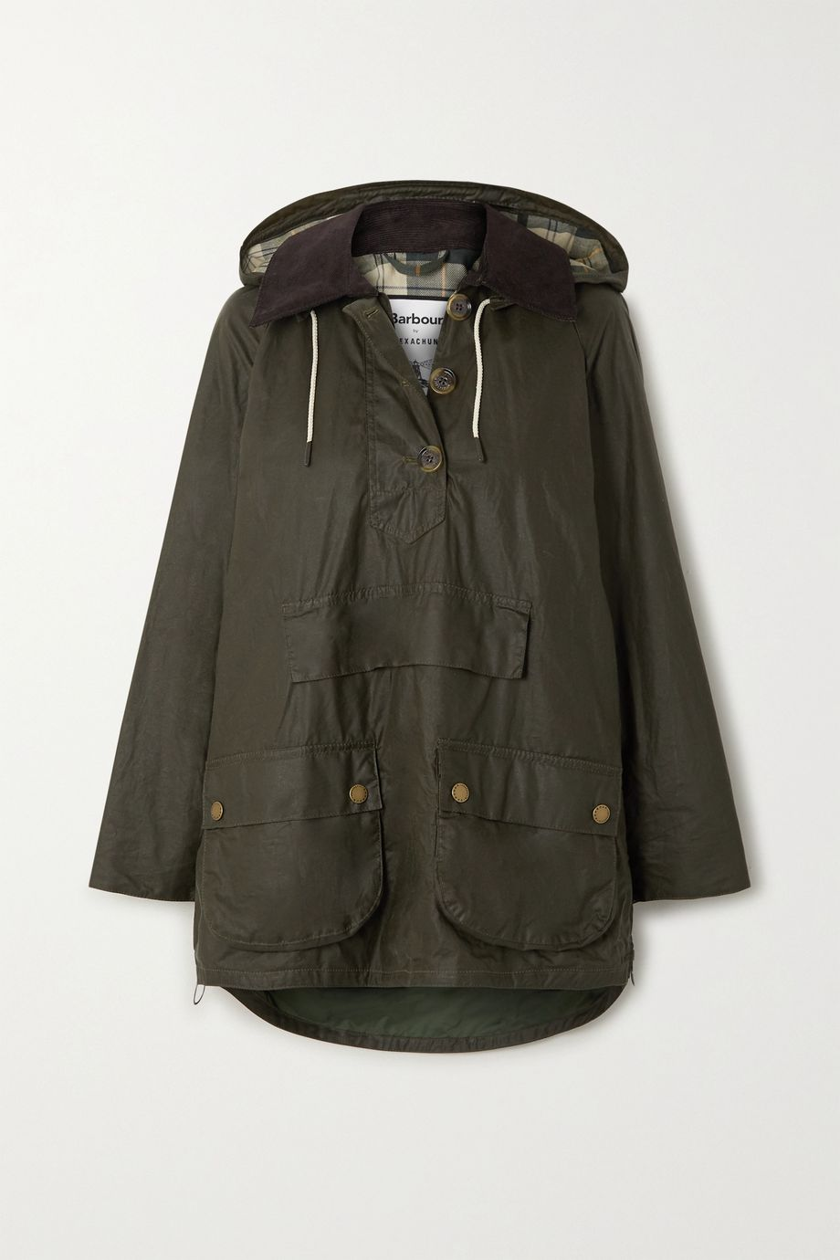 Barbour + ALEXACHUNG Coco oversized hooded corduroy-trimmed waxed-cotton poncho