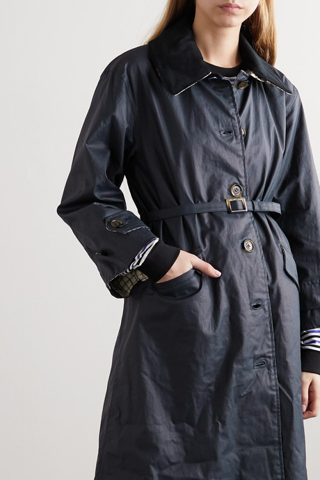 + ALEXACHUNG Mildred corduroy-trimmed waxed linen and cotton-blend trench coat