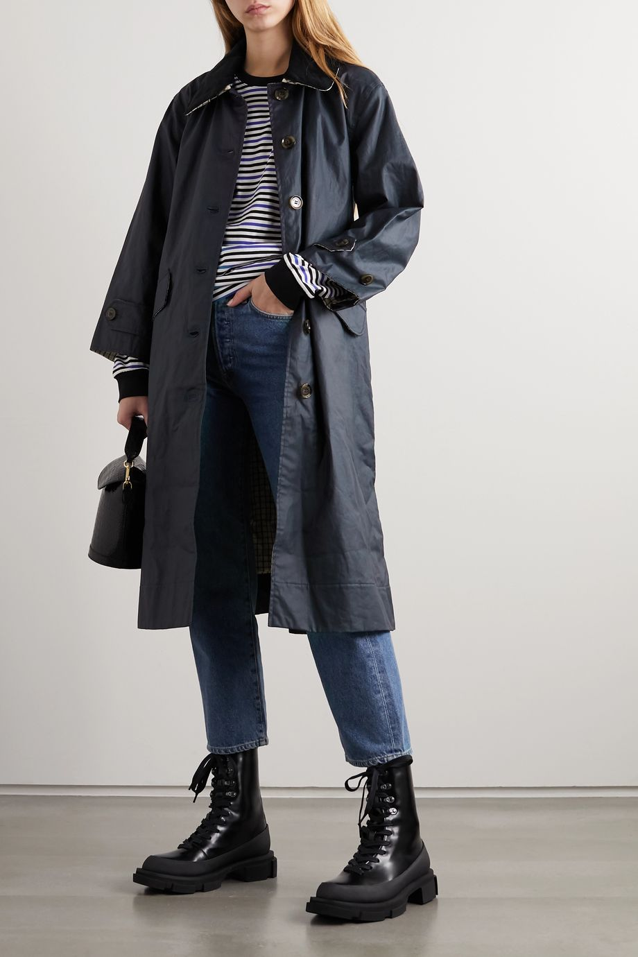 Barbour + ALEXACHUNG Mildred corduroy-trimmed waxed linen and cotton-blend trench coat