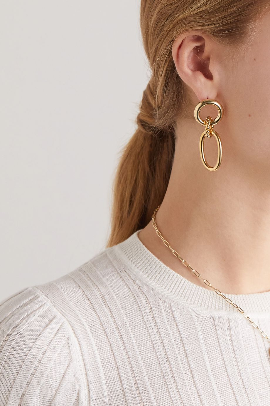 Laura Lombardi + NET SUSTAIN Lou braided gold-plated earrings