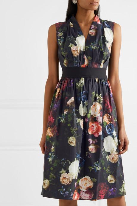 Grosgrain-trimmed floral-print cotton-blend poplin dress