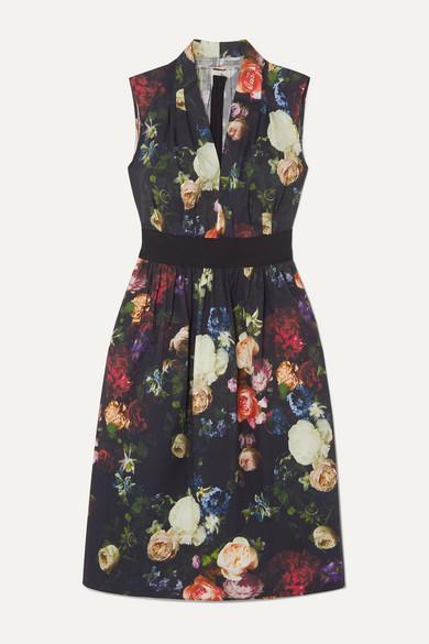 Adam Lippes Dresses Grosgrain-trimmed floral-print cotton-blend poplin dress