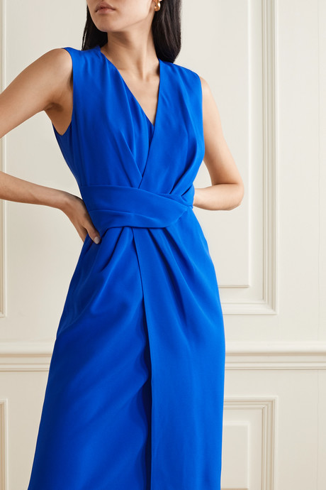 Draped wrap-effect crepe dress