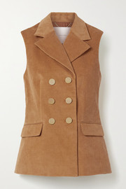 Adam Lippes Double-breasted stretch-cotton corduroy vest