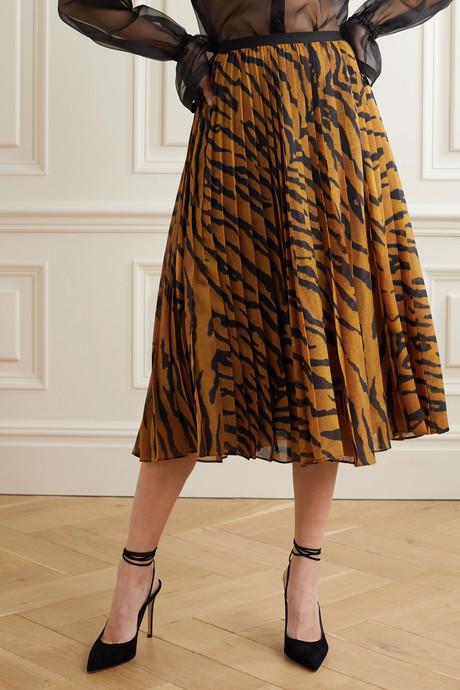 Pleated tiger-print voile midi skirt