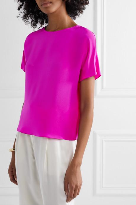 Neon silk crepe de chine top