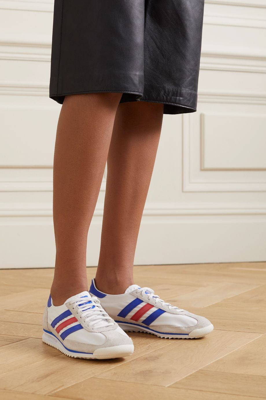 adidas Originals SL 72 leather-trimmed nylon and faux suede sneakers