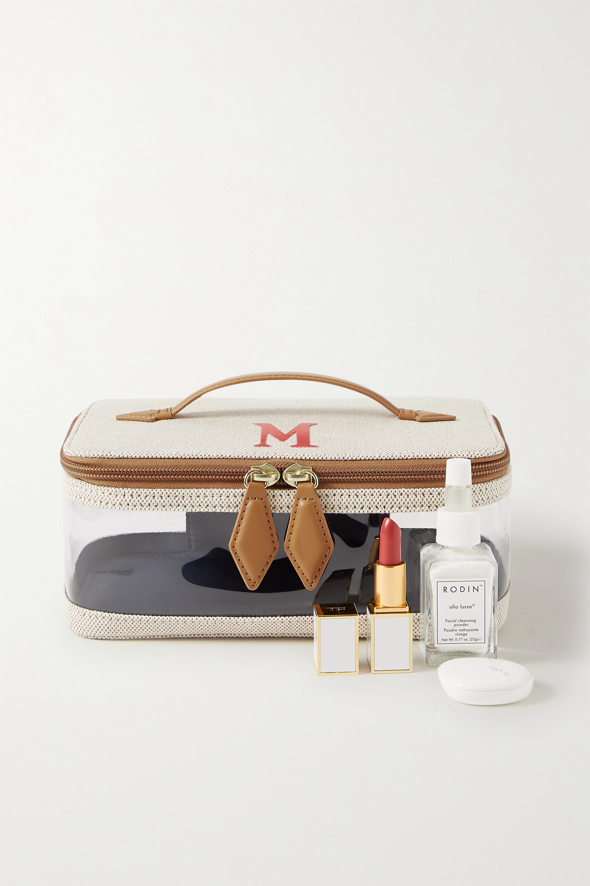 Paravel Monogrammed See-All leather-trimmed canvas and TPU cosmetics case