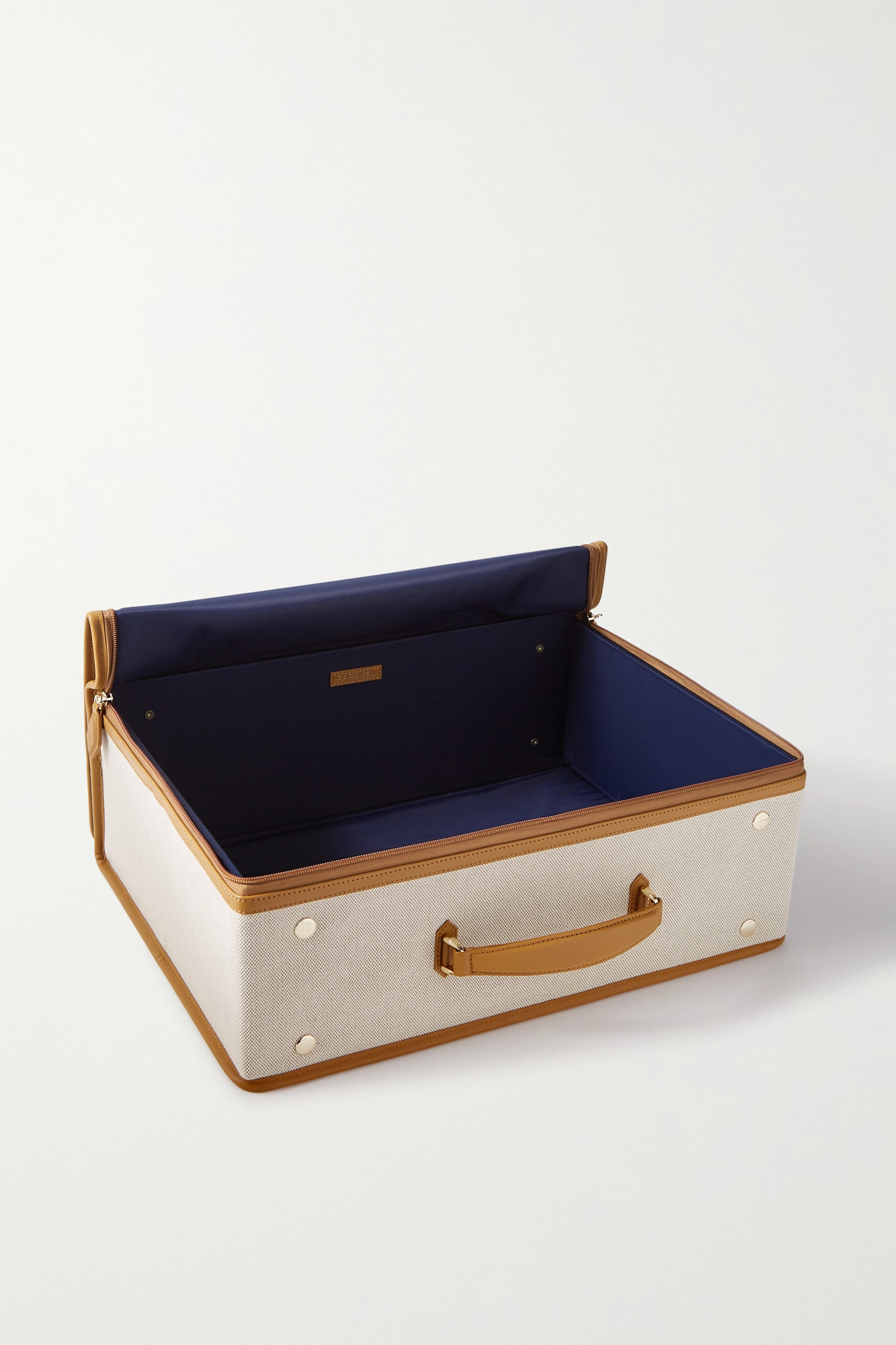 Paravel Stowaway collapsible leather-trimmed cotton-canvas suitcase