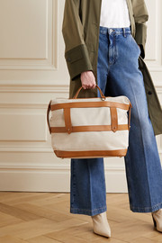Paravel Weekender leather-trimmed cotton-canvas weekend bag