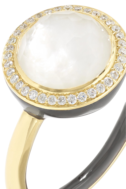 Ippolita Lollipop Carnevale 18-karat gold, mother-of-pearl, diamond and ceramic ring