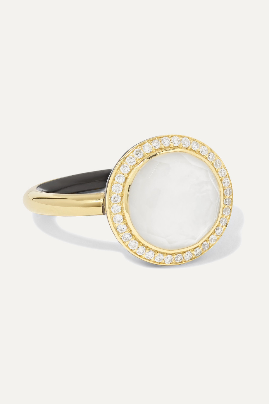 Ippolita Lollipop Carnevale 18-karat gold, mother-of-pearl, diamond and ceramic ring
