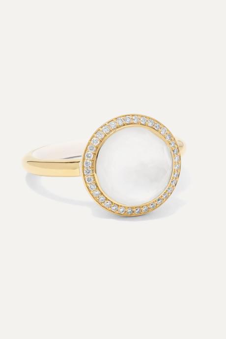 Gold Lollipop Carnevale 18-karat gold, mother-of-pearl, diamond and ceramic ring | Ippolita fyLsgh