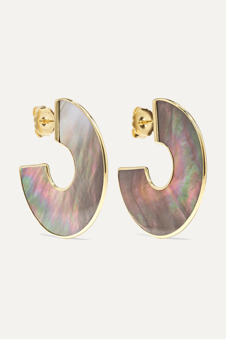 Ippolita Polished Rock Candy 18-karat gold shell hoop earrings